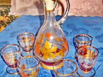722A-Set servit tarie rustic vechi model vita de vie sticla.