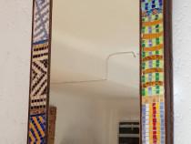 Oglinda rama lemn mozaicat cu sticla Murano, 510x30x710 mm
