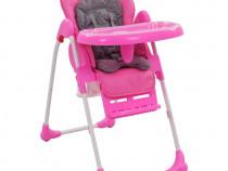 Scaun de masă înalt pentru copii, roz și gri 10186