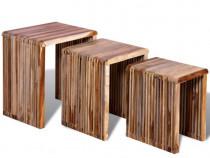 Set de mese suprapuse, 3 piese, lemn de tec 241716