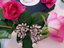 Cercei cu perle si cristale nunta petrecere