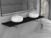 Set mobilier de baie din 3 piese, negru, 279397