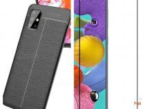 Husa Silicon Neagra si Folie Sticla 11D - Samsung A51 A71