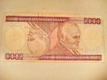 B291-I-Bancnota 5000 cruzeiros Brasilia anii 1980. Circulata