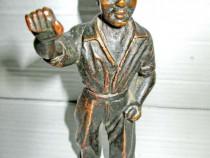 5080-Muncitor-Statuieta bronz masiv plin veche interbelica.