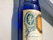 B332-I-Sticla Farmacie veche albastra cobalt Aspirin Vicario