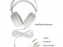 Casti jocuri PC PS4 microfon LED mass, alb ENMEY YM-G800