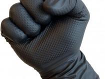 Manusi nitril Negre mecanica Ideal Grip L+XL.Manusi striatii