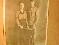 B522-Foto Militar cu Sotia anii 1900 Atelier Straus Wien...