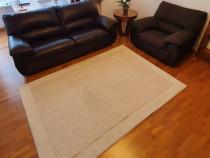Covor Loft, 100% lana manual, alb/bej. 230/160 cm