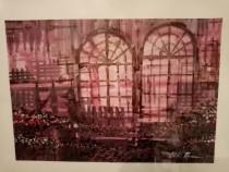Acuarela arcade cu vitralii, pictor contemporan.