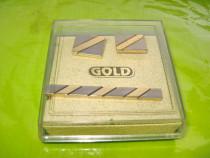 B588-Set ac cravata cu butoniere GOLD vintage.