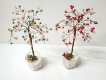 Pomisori decorativi, copaci handmade din sarma si margele