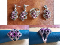 Set argint cu marcasite + rubin - INEL, CERCEI, MEDALION (2)
