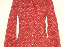 Bluza stil camasa, din bumbac, cu buline si esarfa