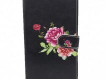 Husa telefon Flip Book Samsung Galaxy A50 a505 Black Flower