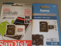 Card Micro SDHC 16Gb, UHS-I 98Mb/s, SanDisk si Hama
