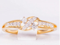 Inel din Argint Placat cu Aur cu 11 Diamante Autentice