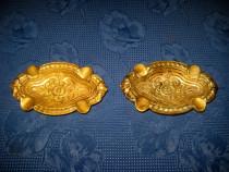 3979-Scrumiere pereche vechi in bronz masiv, perioada 1900.