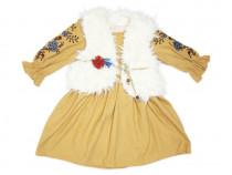 Rochita casual cu vesta de blana copii | Rochita de iarna fe