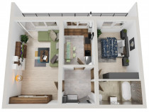 Apartament 2 camere, 53 mp plus terasa, credit bancar