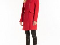 Palton rosu NOU cu amestec lana 36