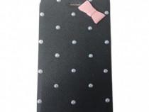 Husa Telefon Flip Book Apple iPhone 5 5s SE Black Pearls
