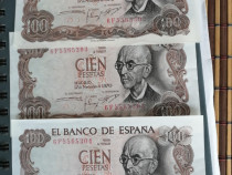 Monede 100 pesetas 1970, serii consecutive