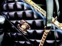 Geanta Chanel cu mâner, lant detasabil/logo auriu