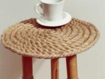 Măsuță cafea deosebită handmade iută și lemn natural de fag
