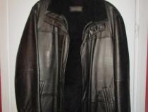 Haina piele Pearlwood, piele naturală cu vesta lana. 52-54