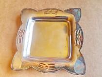 C346-Tavita veche stil Art Noveau Grenadier metal blanc arg.