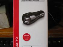 Încărcător brichetă 12 V cu USB dublu 4.8A Hama NOU garanție