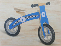 Bicicleta echilibru fara pedale,lemn,albastra,2-4 ani,noua