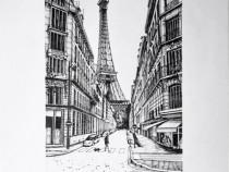 Tablou in tus negru strada Universitatii Paris, Franta
