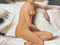 Portret Nud Tablou Pictat in Ulei pe Panza Semnat-Stare Buna