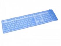 Tastatura flexibila USB 109 taste, water-proof, albastra
