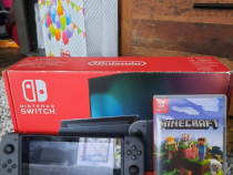 Nintendo switch negru cu joc minecraft inclus