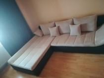 Canapea extensibila cu sezlong si lada depozitare Mobexpert