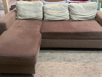 Canapea extensibila tip Coltar cu perne; Pat cu Lada si Salt