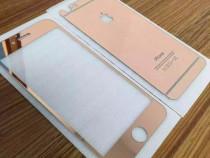 Folie sticla iphone 6 6s plus tunning rose oglinda fata+spat
