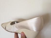 Pantofi Benvenuti eleganți damă piele mătase alb/crem