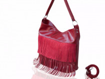 Geanta piele naturala MC11 - Scarlet Fringe Velur/Shiny Lea