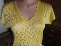 Bluza din matase galbena tricotata manual