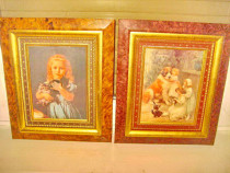 5198-Aplice Vintage litografice pereche-Caine copii-Copil.