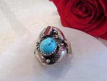 Inel de argint Navajo cu turcoaz si coral