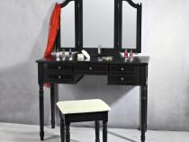 SEN11 - Masuta Neagra toaleta, Scaun, oglinda machiaj