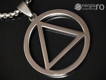 Amuletă pandantiv triunghi in cerc din inox - cod pnd076