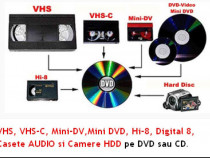 Transfer pe DVD /Stik caste Audio / Video VHS Mini DV Hi8