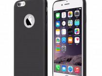 Iphone 6 6S Husa Neagra Slim Din Silicon Imitatie Piele